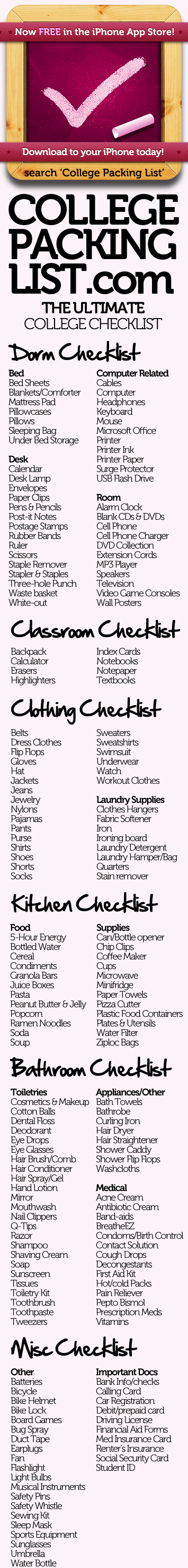 College Packing List - Your College Checklist